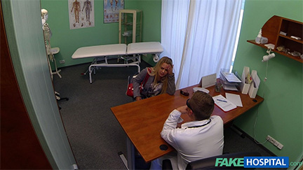 Cute blonde sitting and talking to the Fake Doctor